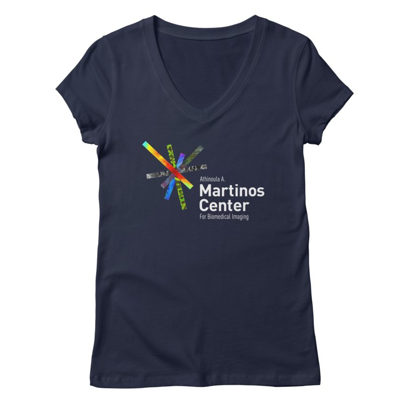 Martinos Center Logo (White Text) Women's V-Neck by martinos's Artist Shop