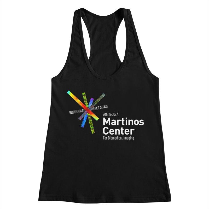 Martinos Center Logo (White Text) Women's Racerback Tank by martinos's Artist Shop