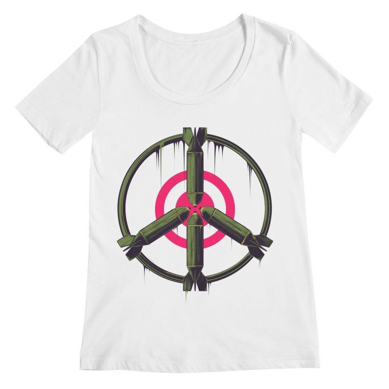 war is peace Women's Regular Scoop Neck by martinskowsky