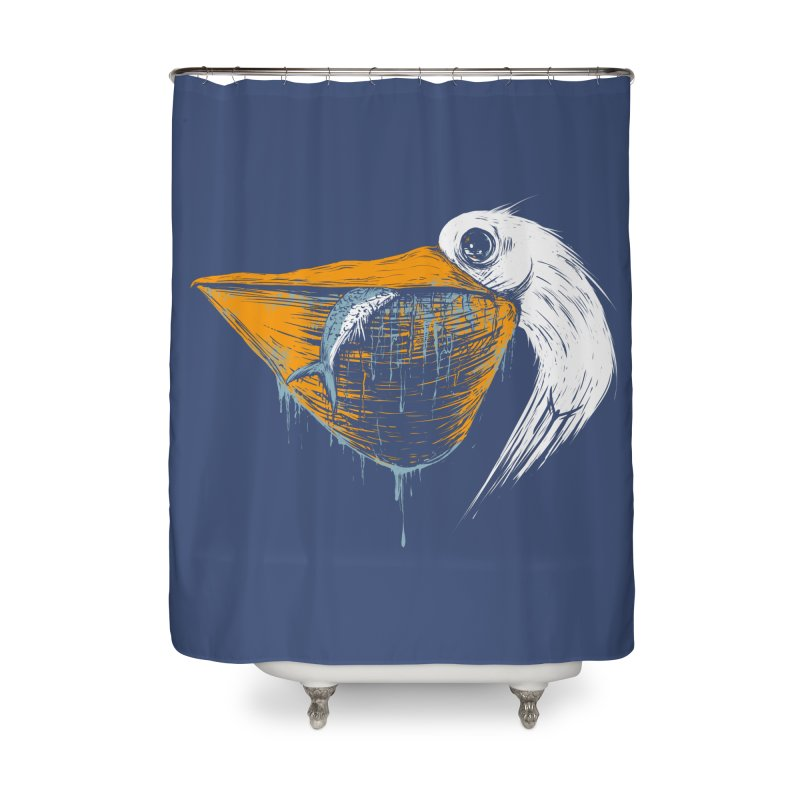 great white pelican Home Shower Curtain by martinskowsky