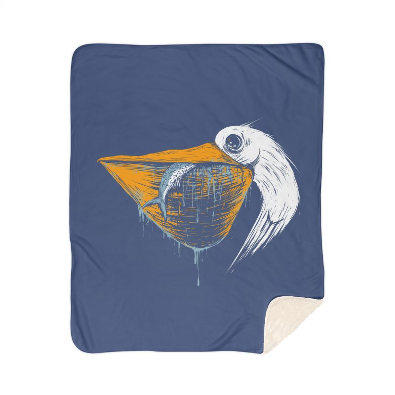 great white pelican Home Sherpa Blanket Blanket by martinskowsky