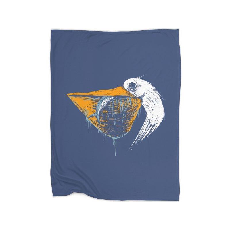 great white pelican Home Fleece Blanket Blanket by martinskowsky