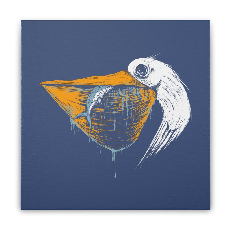 great white pelican Home Stretched Canvas by martinskowsky