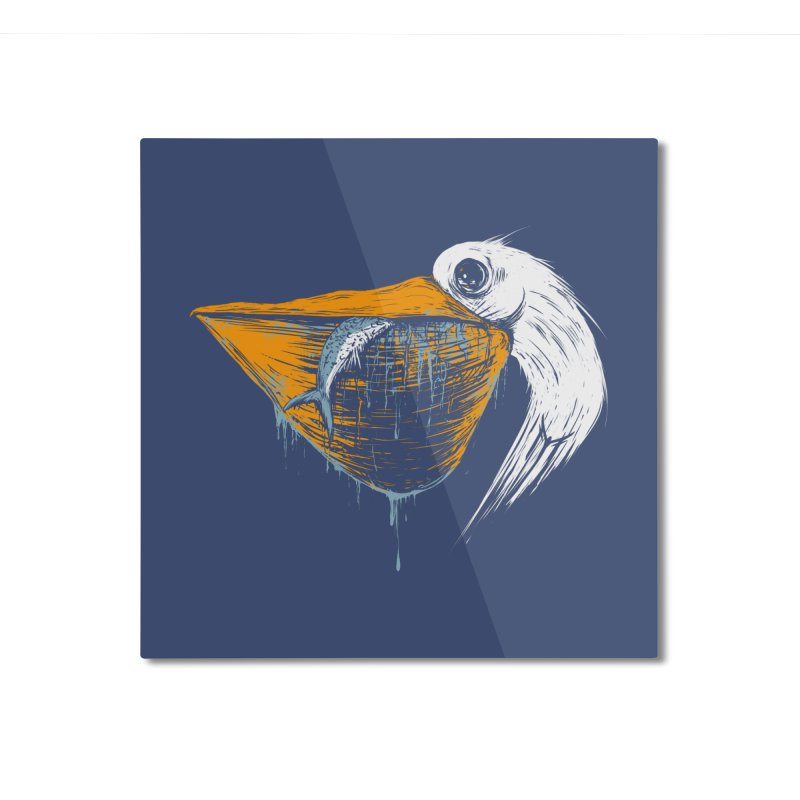 great white pelican Home Mounted Aluminum Print by martinskowsky