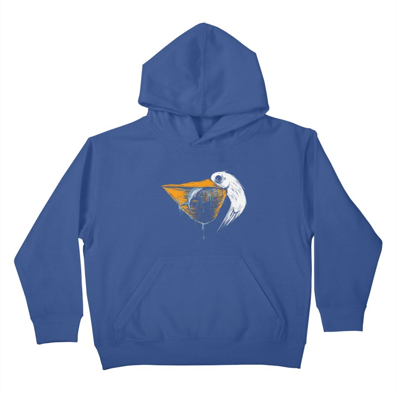 great white pelican Kids Pullover Hoody by martinskowsky