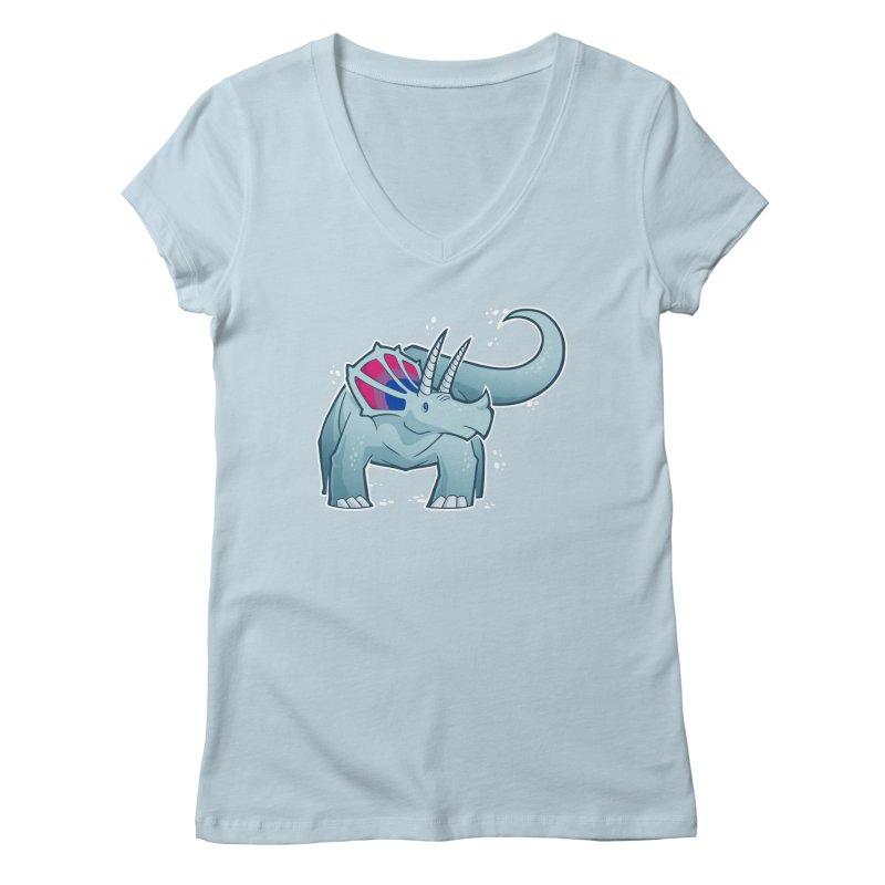 Biceratops Women's V-Neck by Marty's Artist Shop