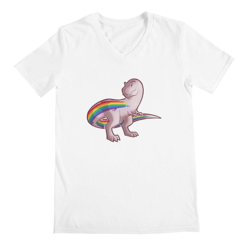 Priderannosaurus Men's Regular V-Neck by Marty's Artist Shop