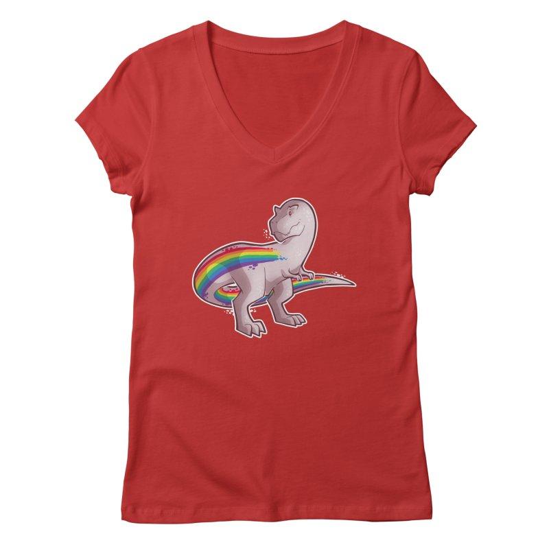 Priderannosaurus Women's Regular V-Neck by Marty's Artist Shop