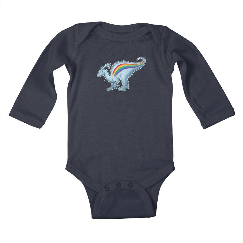 Prideasaurolophus Kids Baby Longsleeve Bodysuit by Marty's Artist Shop