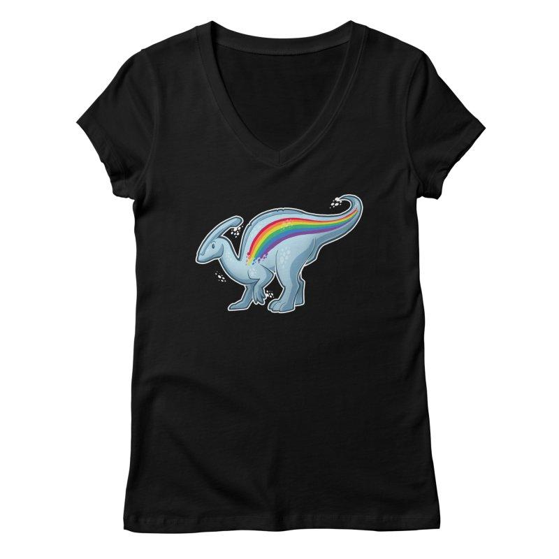Prideasaurolophus Women's V-Neck by Marty's Artist Shop
