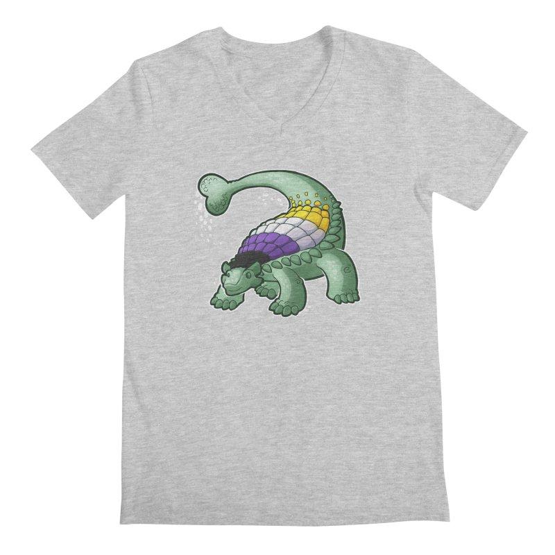 ENBYlosaurus Men's Regular V-Neck by Marty's Artist Shop
