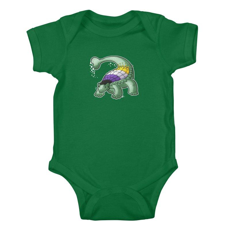 ENBYlosaurus Kids Baby Bodysuit by Marty's Artist Shop