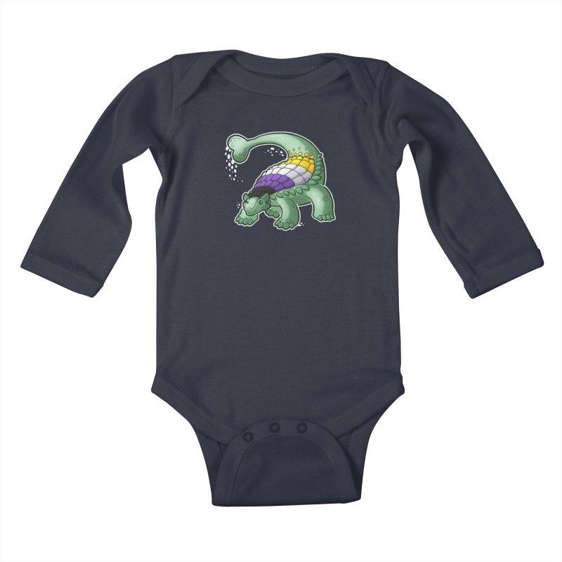 ENBYlosaurus Kids Baby Longsleeve Bodysuit by Marty's Artist Shop