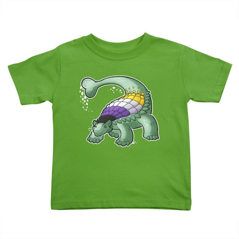 ENBYlosaurus Kids Toddler T-Shirt by Marty's Artist Shop