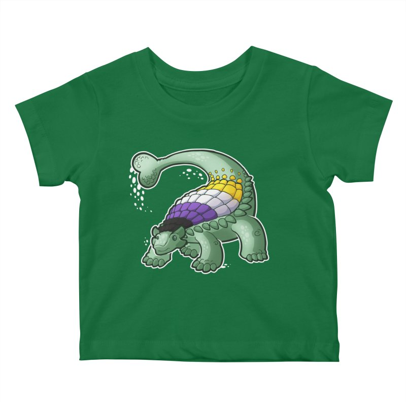 ENBYlosaurus Kids Baby T-Shirt by Marty's Artist Shop