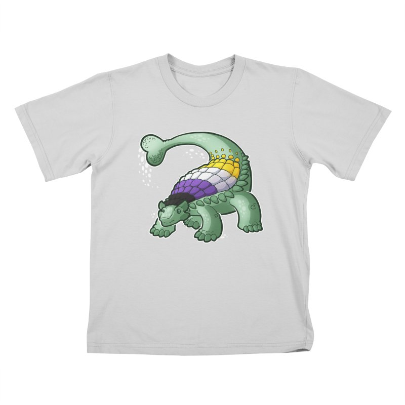 ENBYlosaurus Kids T-Shirt by Marty's Artist Shop