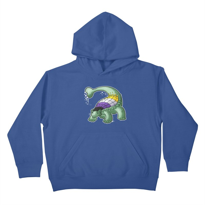 ENBYlosaurus Kids Pullover Hoody by Marty's Artist Shop
