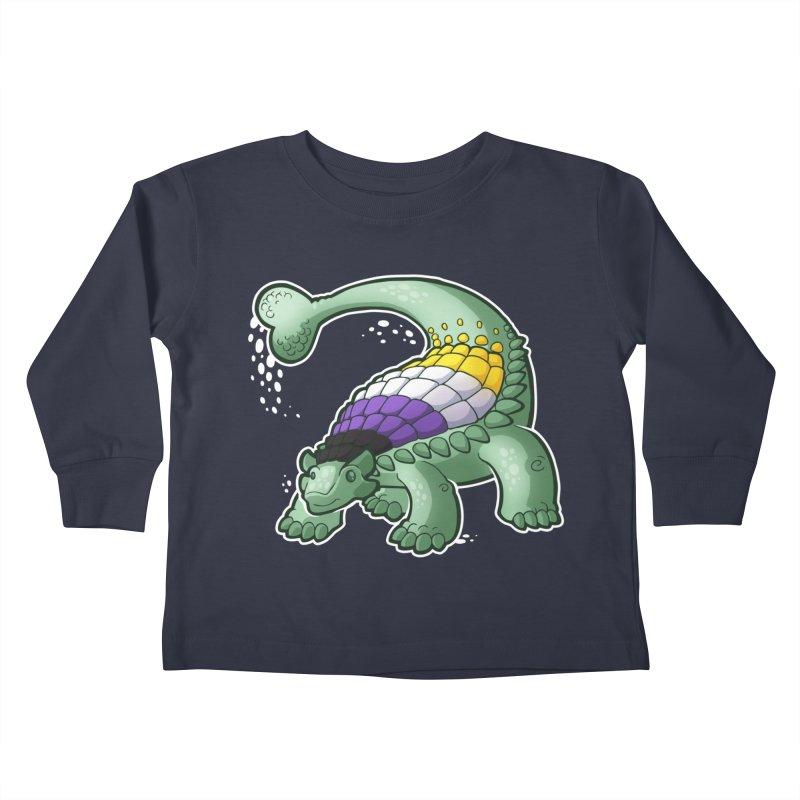 ENBYlosaurus Kids Toddler Longsleeve T-Shirt by Marty's Artist Shop