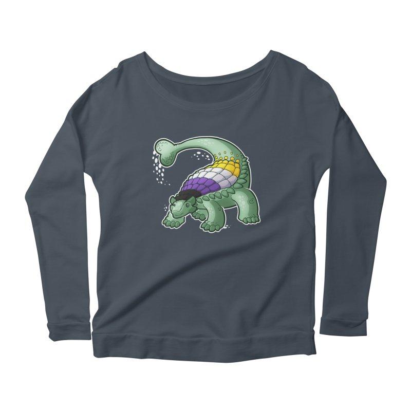 ENBYlosaurus Women's Scoop Neck Longsleeve T-Shirt by Marty's Artist Shop