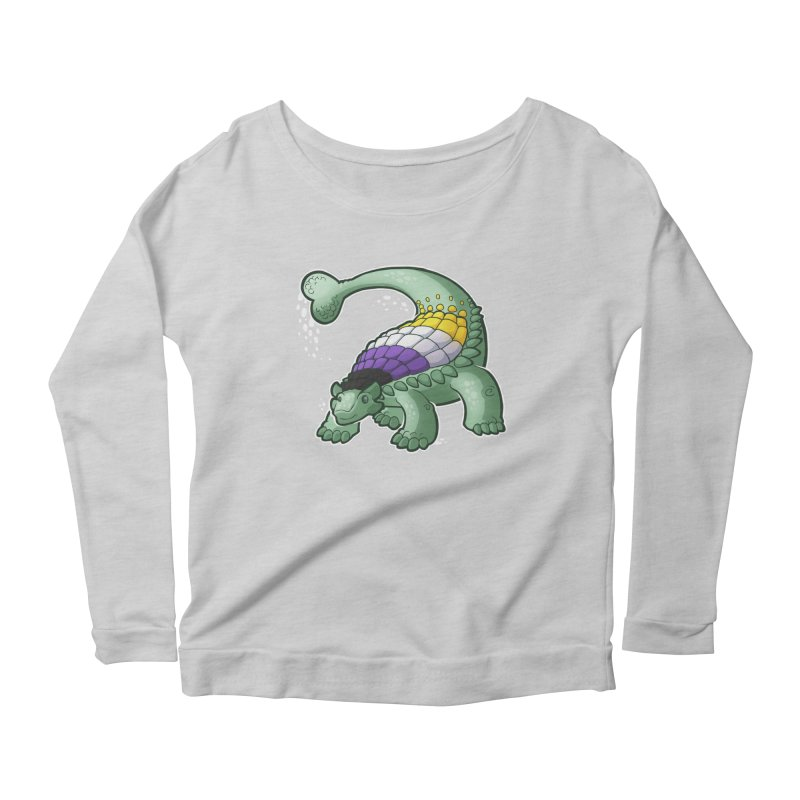 ENBYlosaurus Women's Scoop Neck Longsleeve T-Shirt by Marty's Artist Shop