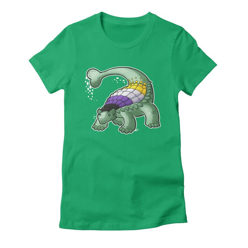 ENBYlosaurus Women's Fitted T-Shirt by Marty's Artist Shop