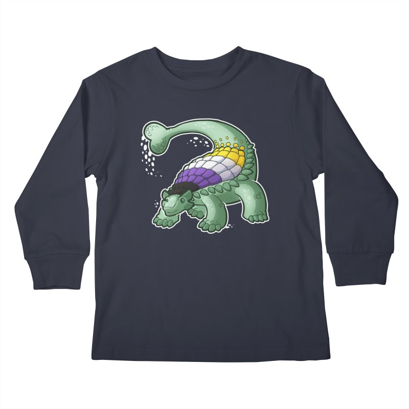 ENBYlosaurus Kids Longsleeve T-Shirt by Marty's Artist Shop