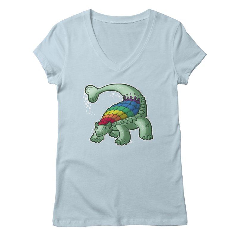 Ankylosaurus Pride Women's Regular V-Neck by Marty's Artist Shop
