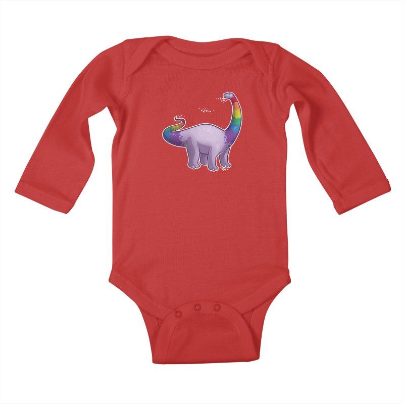 Brontosaurus Pride Kids Baby Longsleeve Bodysuit by Marty's Artist Shop