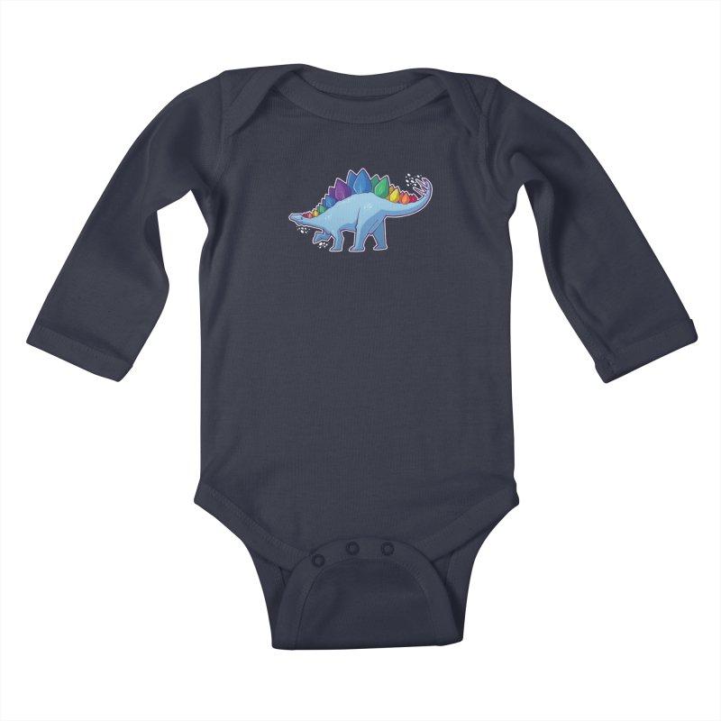 Stegosaurus Pride Kids Baby Longsleeve Bodysuit by Marty's Artist Shop