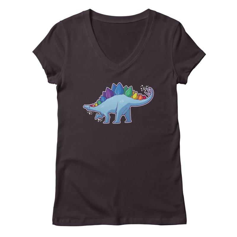Stegosaurus Pride Women's V-Neck by Marty's Artist Shop