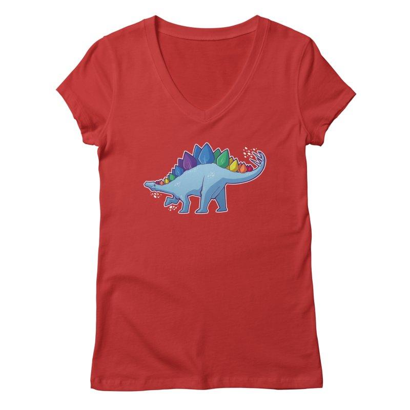 Stegosaurus Pride Women's Regular V-Neck by Marty's Artist Shop