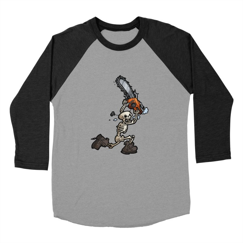 Chainsaw Skeleton Men's Baseball Triblend Longsleeve T-Shirt by Marty's Artist Shop