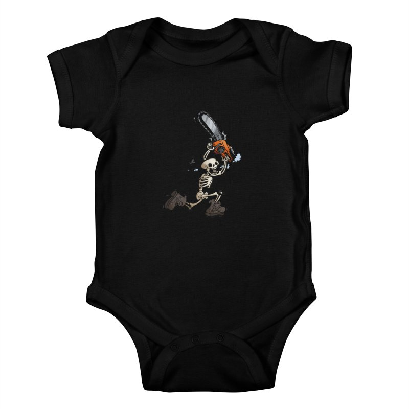 Chainsaw Skeleton Kids Baby Bodysuit by Marty's Artist Shop