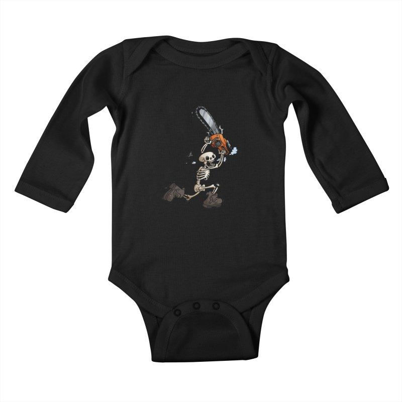Chainsaw Skeleton Kids Baby Longsleeve Bodysuit by Marty's Artist Shop