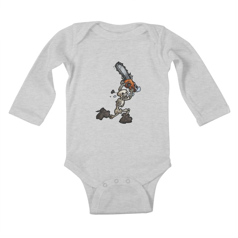 Chainsaw Skeleton Kids Baby Longsleeve Bodysuit by Marty's Artist Shop