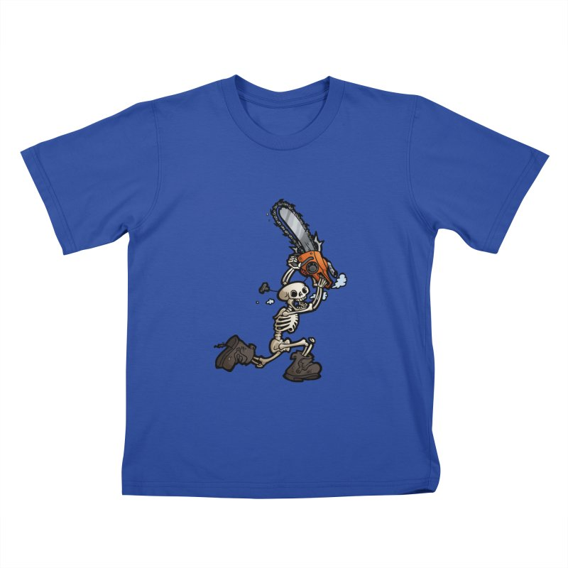 Chainsaw Skeleton Kids T-Shirt by Marty's Artist Shop