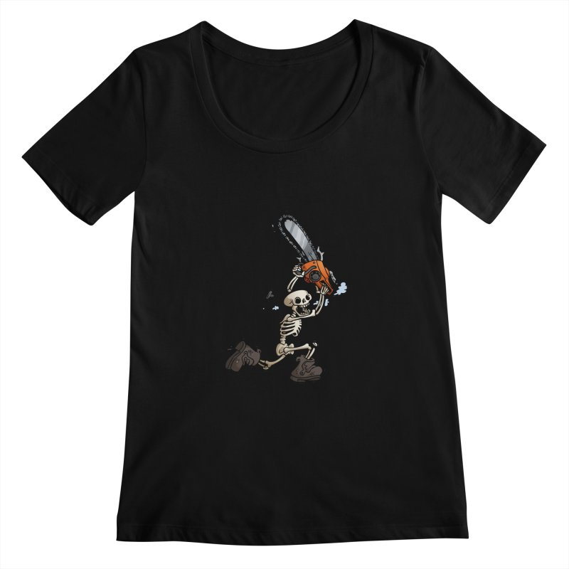 Chainsaw Skeleton Women's Scoopneck by Marty's Artist Shop