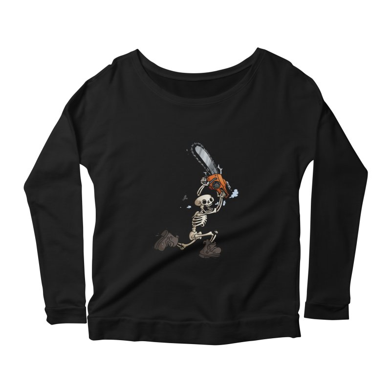 Chainsaw Skeleton Women's Scoop Neck Longsleeve T-Shirt by Marty's Artist Shop