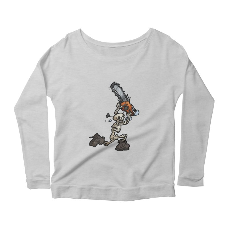 Chainsaw Skeleton Women's Scoop Neck Longsleeve T-Shirt by Marty's Artist Shop