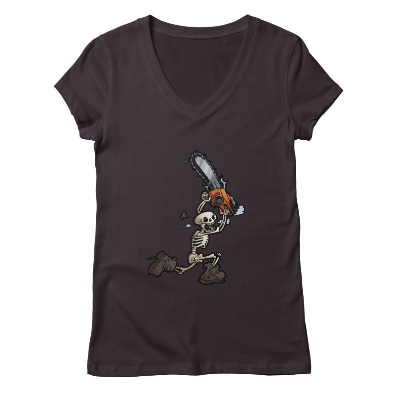 Chainsaw Skeleton Women's V-Neck by Marty's Artist Shop
