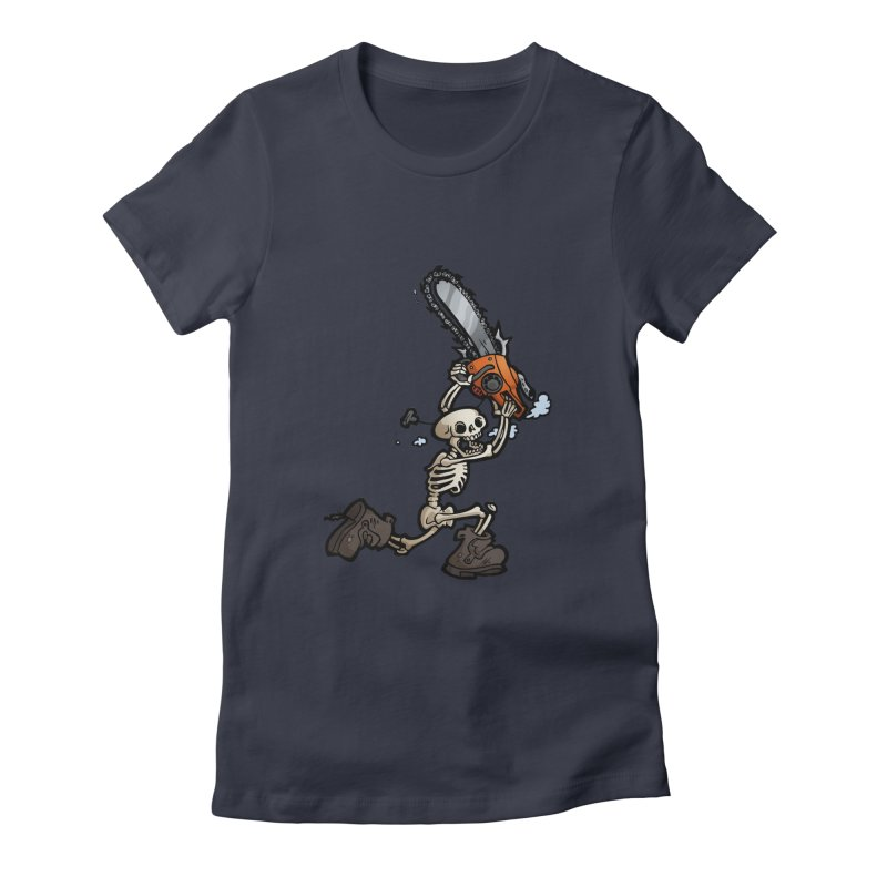 Chainsaw Skeleton Women's Fitted T-Shirt by Marty's Artist Shop