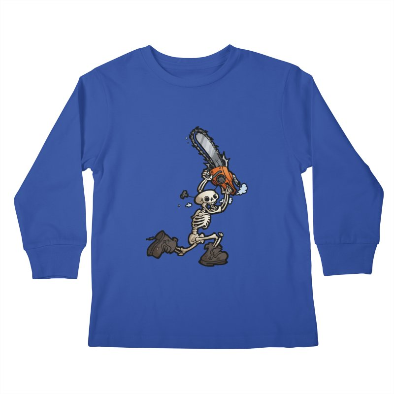Chainsaw Skeleton Kids Longsleeve T-Shirt by Marty's Artist Shop