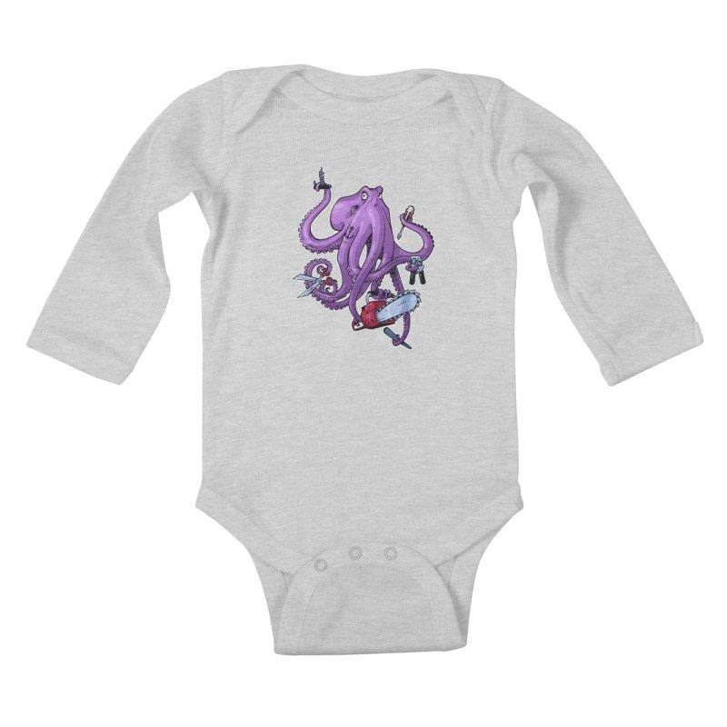 Swiss Army Octopus Kids Baby Longsleeve Bodysuit by Marty's Artist Shop
