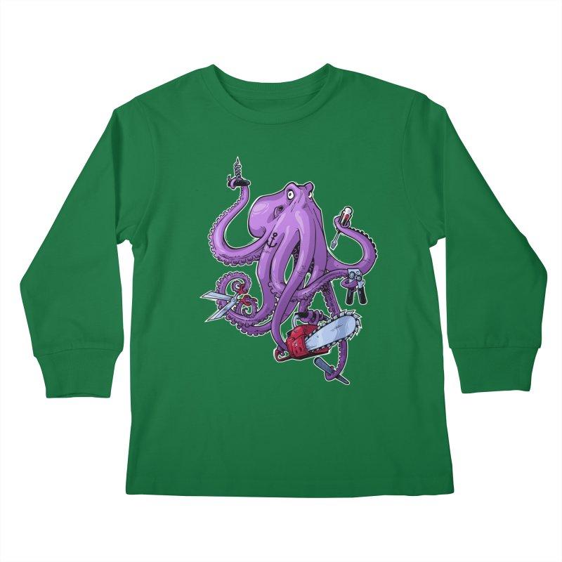Swiss Army Octopus Kids Longsleeve T-Shirt by Marty's Artist Shop
