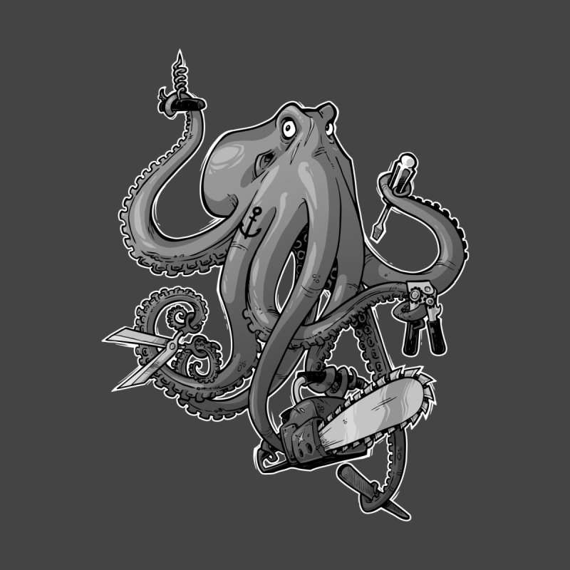 Swiss Army Octopus, B&W Home Framed Fine Art Print by Marty's Artist Shop