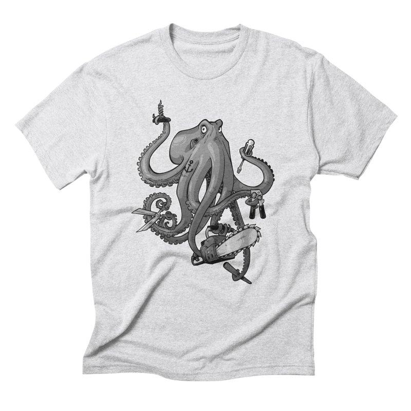 Swiss Army Octopus, B&W Men's Triblend T-shirt by Marty's Artist Shop