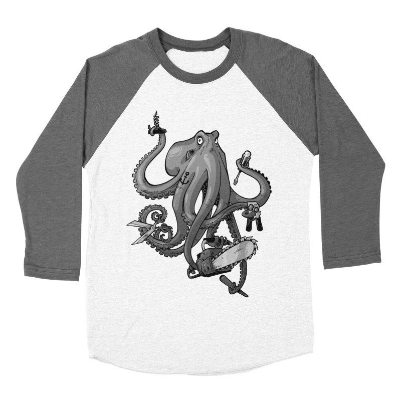 Swiss Army Octopus, B&W Women's Baseball Triblend Longsleeve T-Shirt by Marty's Artist Shop