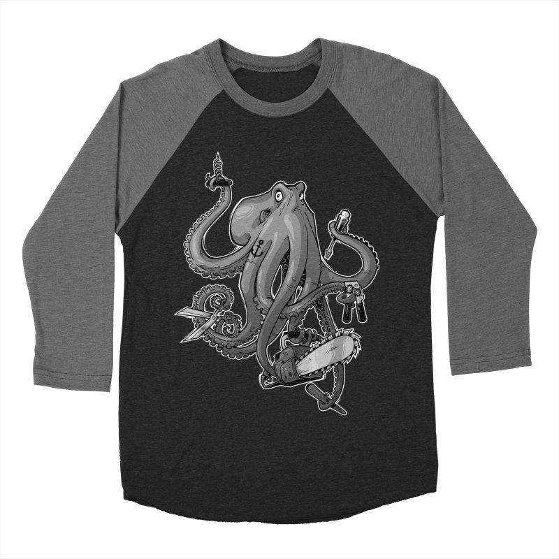 Swiss Army Octopus, B&W Men's Baseball Triblend Longsleeve T-Shirt by Marty's Artist Shop