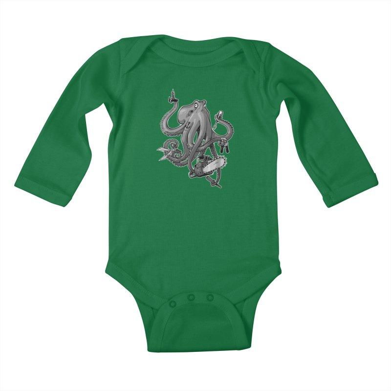 Swiss Army Octopus, B&W Kids Baby Longsleeve Bodysuit by Marty's Artist Shop