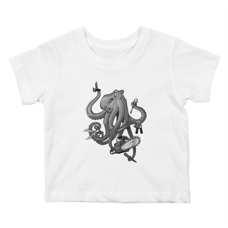 Swiss Army Octopus, B&W Kids Baby T-Shirt by Marty's Artist Shop